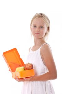 girl with healthy lunch box